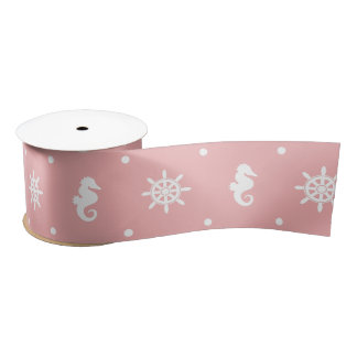 Nautical pink coral pattern satin ribbon