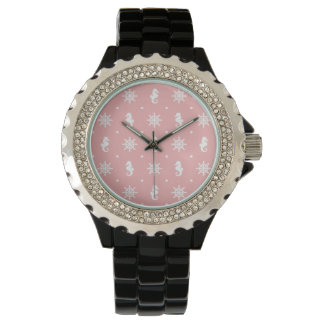 Nautical pink coral pattern watch