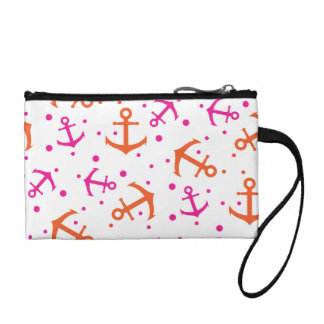 Nautical pink orange pattern coin purse
