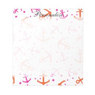 Nautical pink orange pattern notepad