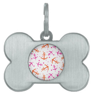 Nautical pink orange pattern pet name tag