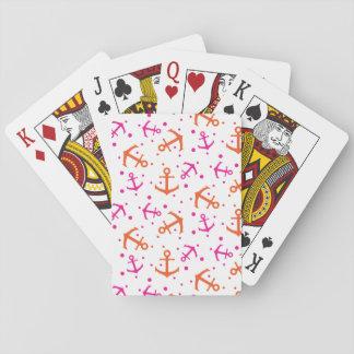 Nautical pink orange pattern playing cards