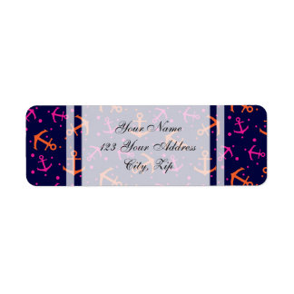 Nautical pink orange pattern return address label