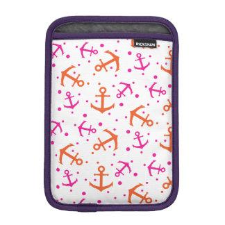 Nautical pink orange pattern sleeve for iPad mini
