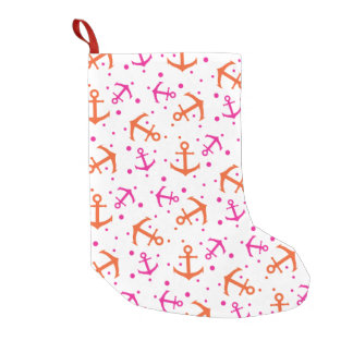 Nautical pink orange pattern small christmas stocking
