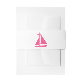Nautical Pink Sailboat Ocean Beach Wedding Invitation Belly Band