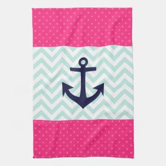 Nautical Pink White Mint Chevron Anchor Pattern Tea Towel