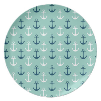 Nautical Plates with Blue Anchors