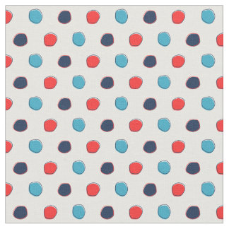 Nautical Polka Dot Fabric, Red and Blue Fabric