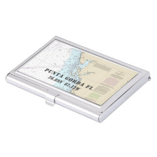 Nautical Punta Gorda Florida Latitude Longitude Business Card Holder