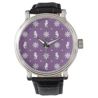 Nautical purple pattern watch