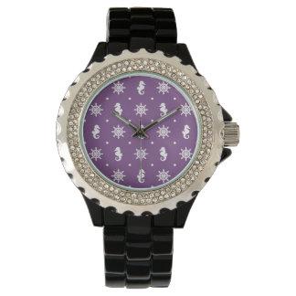 Nautical purple pattern wrist watches