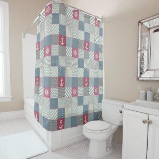 Nautical Quilt Pattern Shower Curtain