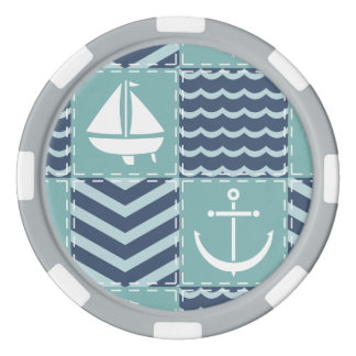 Nautical Quilt Poker Chip
