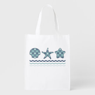 Nautical Quilt Reusable Grocery Bag