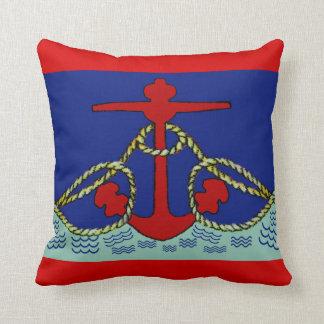 Nautical Red Anchor Cushion