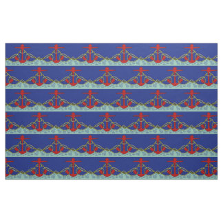 Nautical Red Anchor Fabric