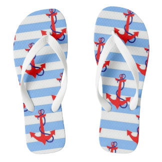 NAUTICAL RED ANCHOR with LIGHT BLUE STRIPE Thongs