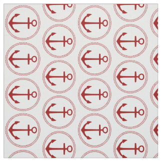 Nautical Red Anchors and Rope on White Fabric