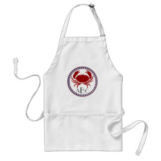Nautical red crab and monogram standard apron