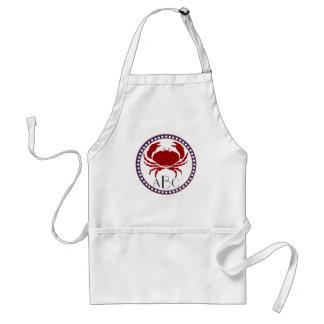Nautical red crab and monogram standard apron