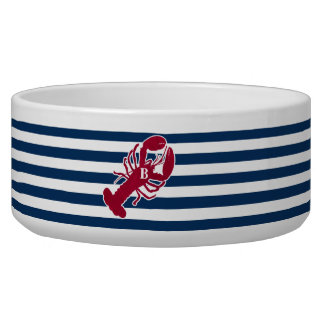 Nautical Red Lobster Monogram Blue White Stripe