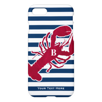 Nautical Red Lobster Monogram Blue White Stripe iPhone 7 Case