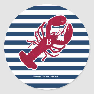 Nautical Red Lobster Monogram Blue White Stripe Round Sticker