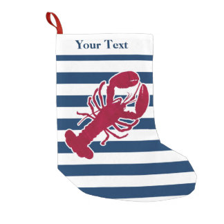 Nautical Red Lobster Monogram Blue White Stripe Small Christmas Stocking