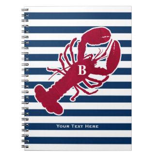 Nautical Red Lobster Monogram Blue White Stripe Spiral Notebook