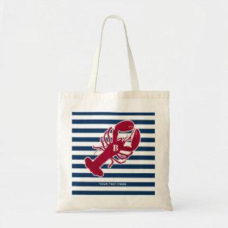 Nautical Red Lobster Monogram Blue White Stripe Tote Bag