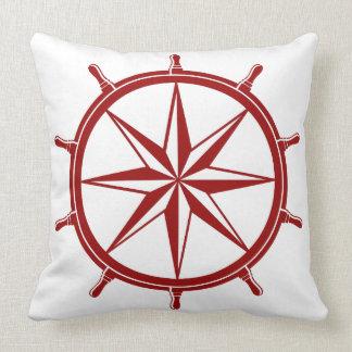 Nautical Red Ship Wheel on White Throw Pillow