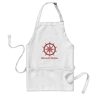 Nautical Red Ship's Wheel Personalized Standard Apron