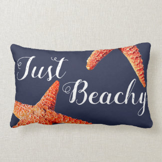 Nautical Red Starfish Just Beachy Script Lumbar Cushion