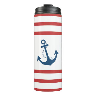 Nautical Red Stripe with Anchor Design Thermal Tumbler