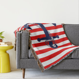 Nautical Red Stripe with Blue Anchor