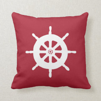 Nautical Red Throw Pillow Ship's Wheel