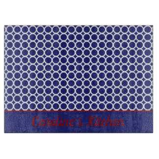 Nautical Red White and Blue Circle Monogram Cutting Board