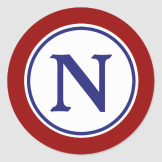 Nautical Red White and Blue Monogram Classic Round Sticker