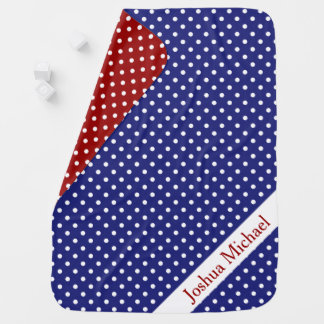 Nautical Red White and Blue Polka Dot Reversible Baby Blanket