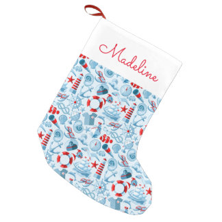 Nautical Red White & Blue Pattern | Add Your Name Small Christmas Stocking