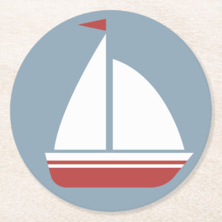 Nautical Red White & Blue Sailboat - Ocean Beach Round Paper Coaster