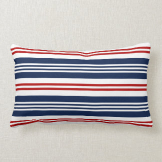 Nautical Red, White, Blue Striped Lumbar Pillow