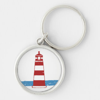 Nautical Red & White Stripe Lighthouse Blue Ocean Key Ring