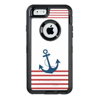 Nautical Red White Stripe Navy Anchor Design OtterBox iPhone 6/6s Case