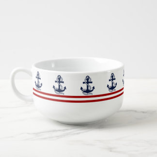 Nautical Red White Stripes and Blue Anchors Soup Mug