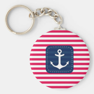 Nautical Red White Stripes Navy Blue Banner Anchor Basic Round Button Key Ring