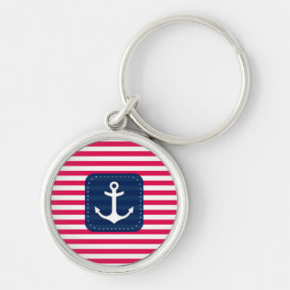 Nautical Red White Stripes Navy Blue Banner Anchor Key Chain
