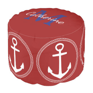 Nautical Red With White Anchor Monogram Pouf
