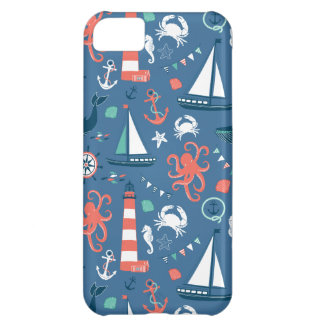 Nautical retro sailor girly pattern with anchors iPhone 5C case